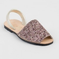 Glitter Spanish Sandals in Pink & Silver/Gold Mix