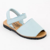 Leather Spanish Sandals in Pale Blue & Pink