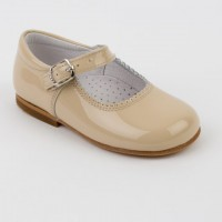 Patent Mary Jane in Camel, Grey and Dusty Pink