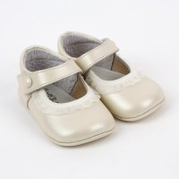 Pearlised Leather Mary Jane Pram Shoe
