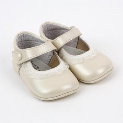 Pearlised Leather Mary Jane Pram Shoe