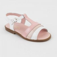 Patent Pink, Taupe & White Open toe T-Bar Sandal