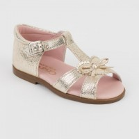 Leather Open Toe Slingback Sandal with Bow
