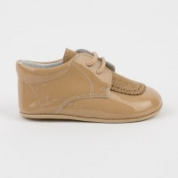 4064 Camel Patent and Suede Lace up Pram Shoe