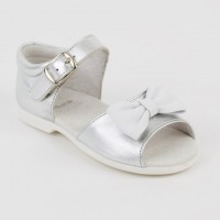 Leather Open Toe Sandal with White Bow (Silver & Whte)
