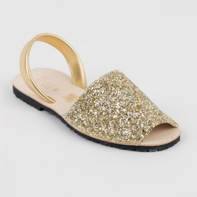 7505 Silver and Gold Mix Glitter Spanish Sandals