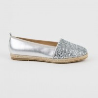 A-3032 Silver Glitter and Leather Espadrilles