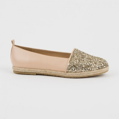 A-3032 Gold Glitter and Leather Espadrilles