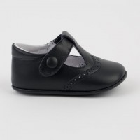 1527 Navy Leather T-Bar Pram Shoe with Brogue detailing