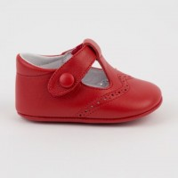 1527 Red Leather T-Bar Pram Shoe with Brogue detailing