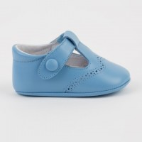 1527 French Blue Leather T-Bar Pram Shoe with Brogue detailing