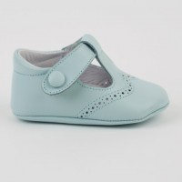 1527 Pale Blue Leather T-Bar Pram Shoe with Brogue detailing