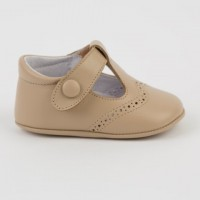 1527 Camel Leather T-Bar Pram Shoe with Brogue detailing