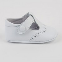 1527 White Leather T-Bar Pram Shoe with Brogue detailing