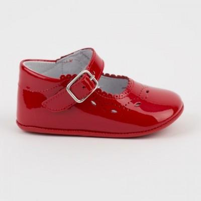1532 Red Patent Mary Jane Pram Shoe