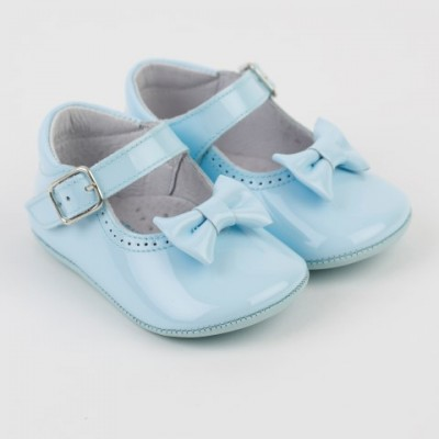 Patent Mary Jane Pram Shoe  with Bow