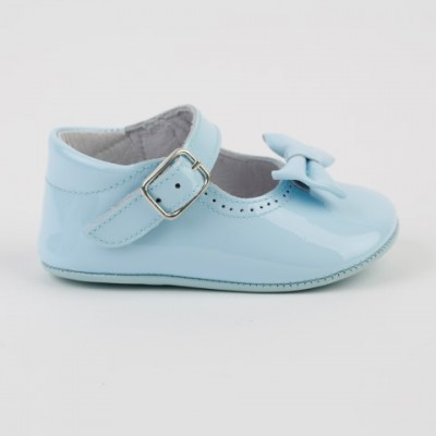 1529 Pale Blue Patent Mary Jane Pram Shoe  with Bow