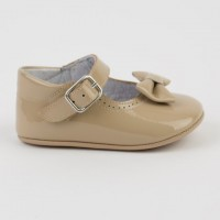 1529 Camel Patent Mary Jane Pram Shoe  with Bow