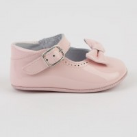 1529 Pink Patent Mary Jane Pram Shoe  with Bow