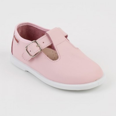 1520200 Xiquets Pink Leather T-Bar Pumps