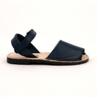 7507 Navy Leather Unisex Spanish Sandals