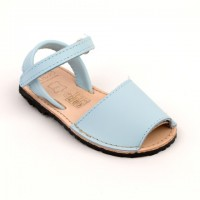 Leather Unisex Spanish Sandals in Pale Blue, White & Camel