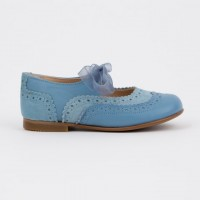 137221J Blue Leather & Suede Dolly Shoe with Brogue detailing and Ribbon Laces