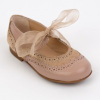 Leather & Suede Dolly Shoe with Brogue detailing and Ribbon Laces