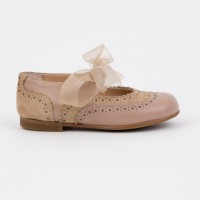 137221J Taupe Leather & Suede Dolly Shoe with Brogue detailing and Ribbon Laces