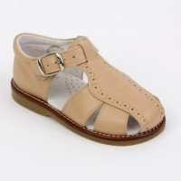 Leather Spider Sandal (Navy, Camel, White)