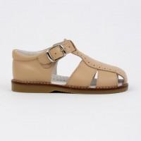 120-W Nens Camel Leather Spider Sandal