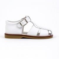 120-W Nens White Leather Spider Sandal