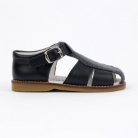 120-W Nens Navy Leather Spider Sandal