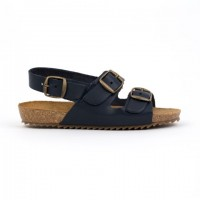 7085-C Nens Navy Leather Buckle Sandal