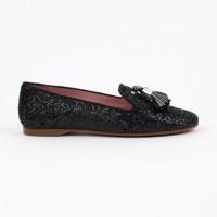 360.722 Black Glitter Slipper Shoe with Tassels