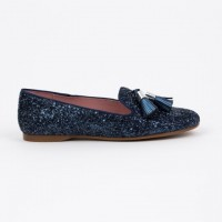 360.722 Navy Glitter Slipper Shoe with Tassels