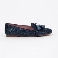 360.722 Navy Glitter Slipper Shoe with Tassels