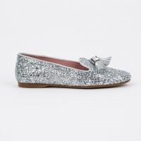 360.722 Silver Glitter Slipper Shoe with Tassels