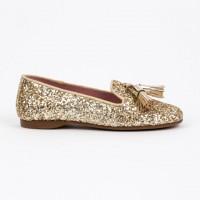 360.722 Gold Glitter Slipper Shoe with Tassels