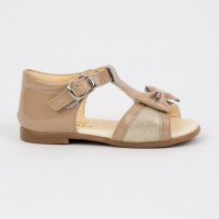 TI219 Camel Patent Open Toe T-Bar Sandal with Bow