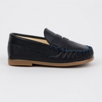 TI106 Navy Leather Loafer
