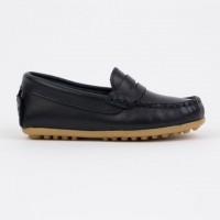 514 Navy Leather Loafer