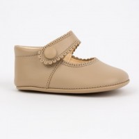 TI114 Camel Leather Mary Jane Pram Shoe