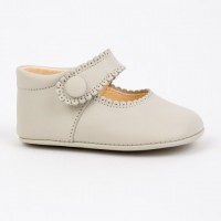 TI114 Ivory Leather Mary Jane Pram Shoe