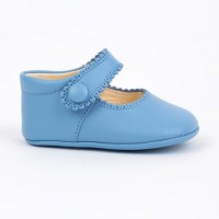 TI114 Blue Leather Mary Jane Pram Shoe