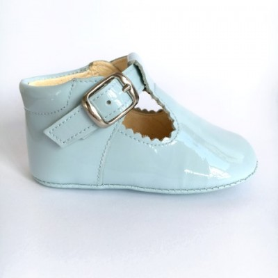 TI280 Pale Blue Patent T-Bar Pram Shoe