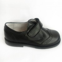 TI557 Black Leather Velcro School Shoes