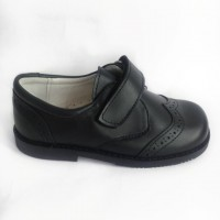 TI557 Navy Leather Velcro School Shoes