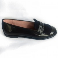 365711 Shiny Leather Moccasin with Suede Kilt