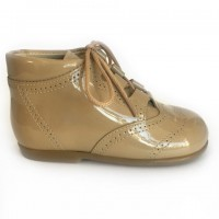 185-E Nens Camel Patent Lace up Brogue Boot